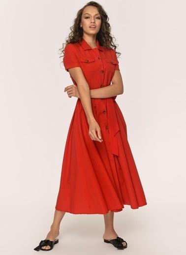Loves You Midi Boy Poplin Gömlek Elbise Kırmızı